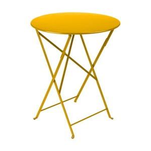 Żółty stolik ogrodowy Fermob Bistro, Ø 60 cm