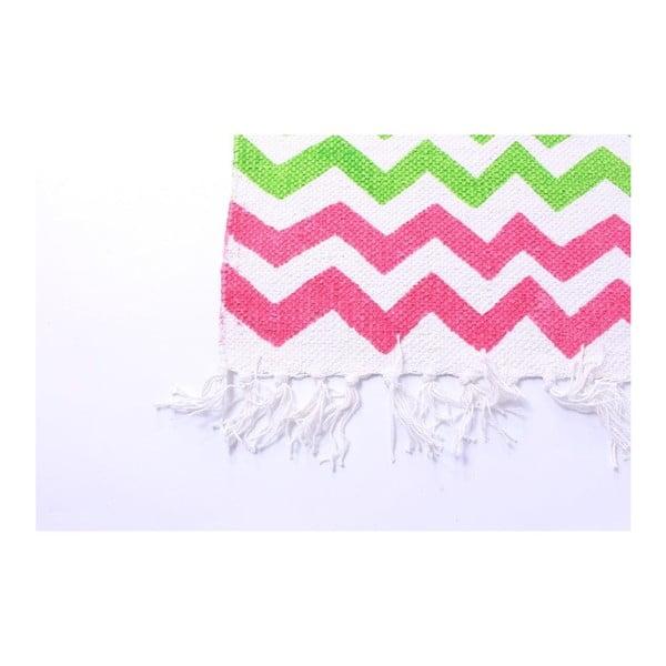 Dywan La Finesse Zig Zag Green/Pink, 70x200 cm