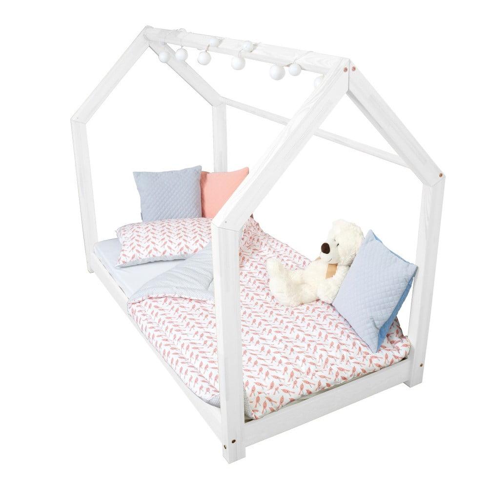 Białe łóżko Z Wysokimi Nóżkami I Barierkami Benlemi Tery 90 X 200