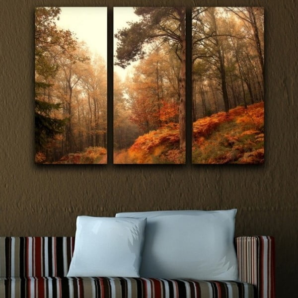 Obraz trzyczęściowy Jesienny wąwóz
