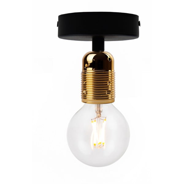 Czarna lampa sufitowa z oprawką żarówki w kolorze złota Bulb Attack Uno Basic