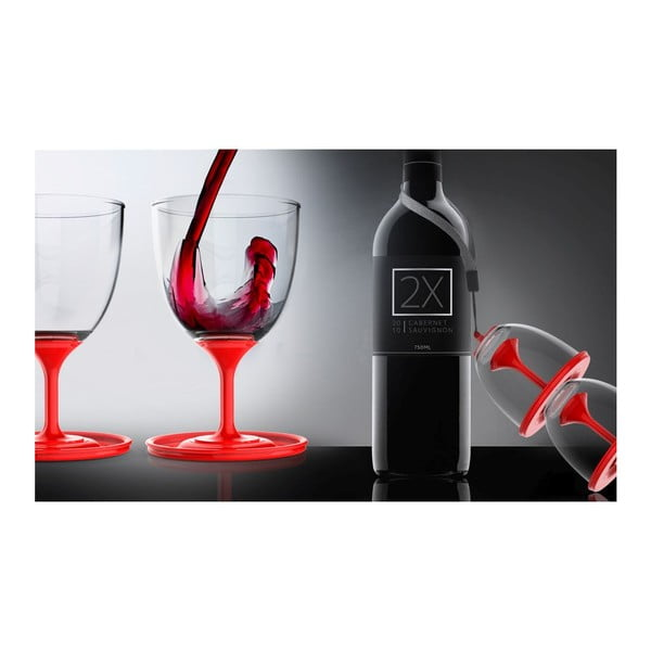 Komplet lampek do wina Stack N' Go Vino, czerwony