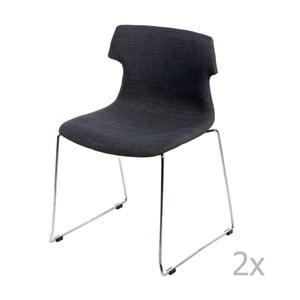 Zestaw 2 grafitowych tapicerowanych krzeseł D2 Techno