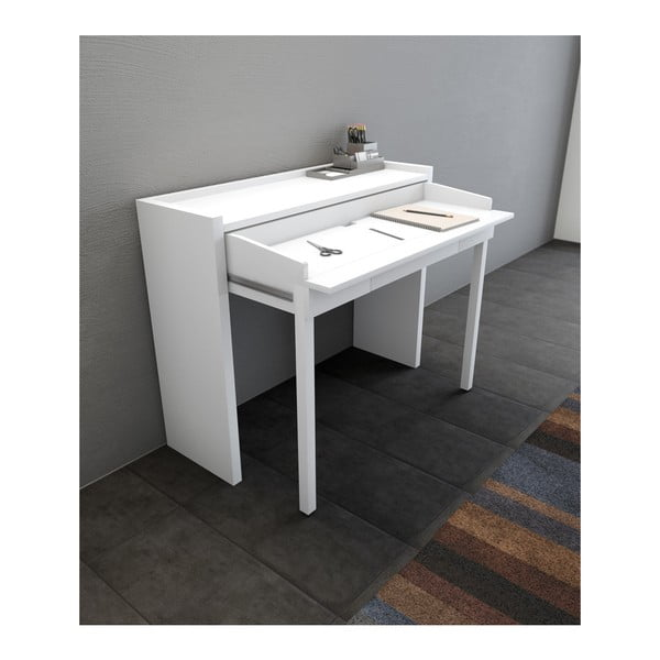 Biała konsola/biurko wysuwane Woodman 16 Mel