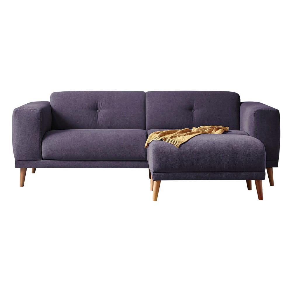 Fioletowa sofa z podnóżkiem Bobochic Paris Luna