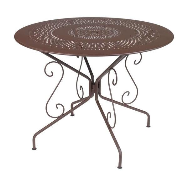 Brązowy stół metalowy Fermob Montmartre, Ø 96 cm