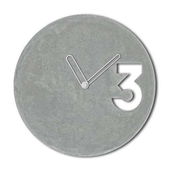 Betonowy zegar Jakuba Velínskiego, białe kontury wskazówek