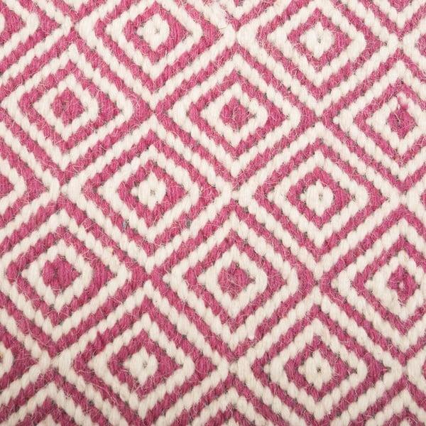 Dywan wełniany Geometry Rhomb Pink & White, 160x230 cm