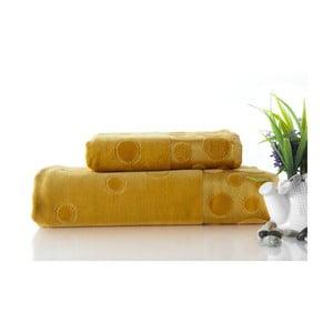 Zestaw 2 ręczników Tropical Mustard Color, 70x140 i 50x90 cm