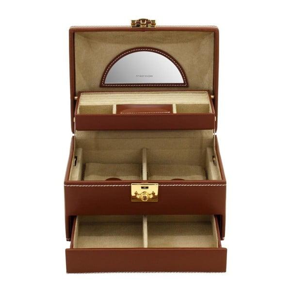 Brązowa szkatułka Friedrich Lederwaren Cordoba, 22x16 cm