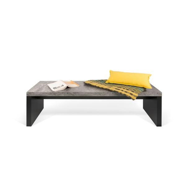 Czarno-szara ławka z dekorem betonu TemaHome Detroit, 140x43 cm