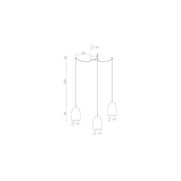 Srebrna potrójna lampa wisząca z białymi kablami i białą oprawką Sotto Luce Ume