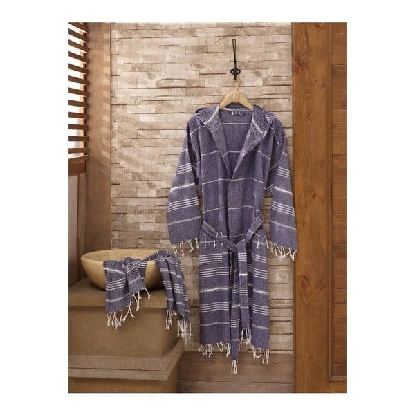 Zestaw szlafrok i ręcznik Sultan Dark Blue, rozmiar S/M
