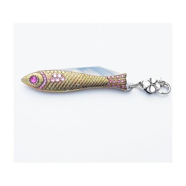 Scyzoryk rybka, świąteczny z różowymi kryształkami, w blaszanym pudełku