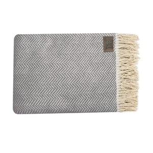 Szaro-brązowy pled bawełniany Zig, 130x170cm