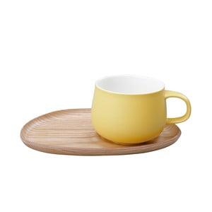 Kubek z drewnianym spodkiem Fika Wood Yellow