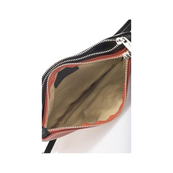 Skórzana torebka Krole Kody z 2 kieszonkami, pomarańczowa