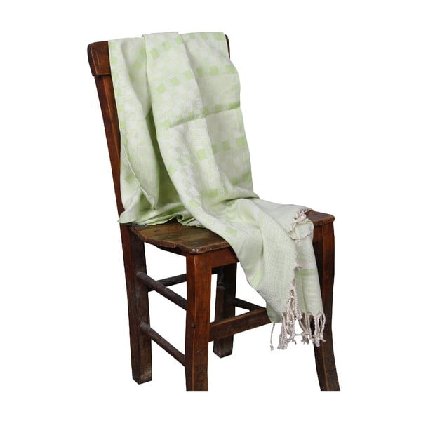 Zielony ręcznik hammam Hera Green, 90x190cm