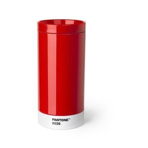 Czerwony kubek podróżny ze stali nierdzewnej Pantone, 430ml
