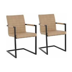 Zestaw 2 beżowych krzeseł z podłokietnikami Støraa Sandra