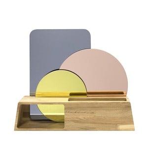 Drewniany stojak z lustrami