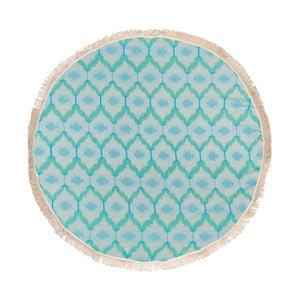 Turkusowy ręcznik hammam Begonville Ripple, ᴓ 150 cm