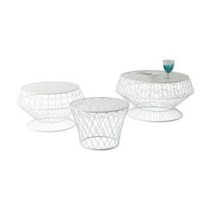 Zestaw 3 białych stolików Kare Design Wire