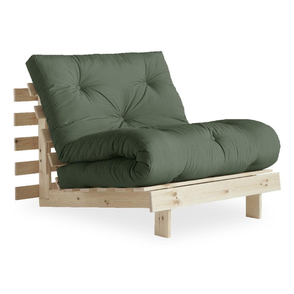 Fotel rozkładany z zielonym pokryciem Karup Design Roots Raw/Olive Green