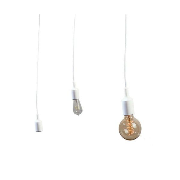 Materiałowy kabel z oprawką 3 m - biały