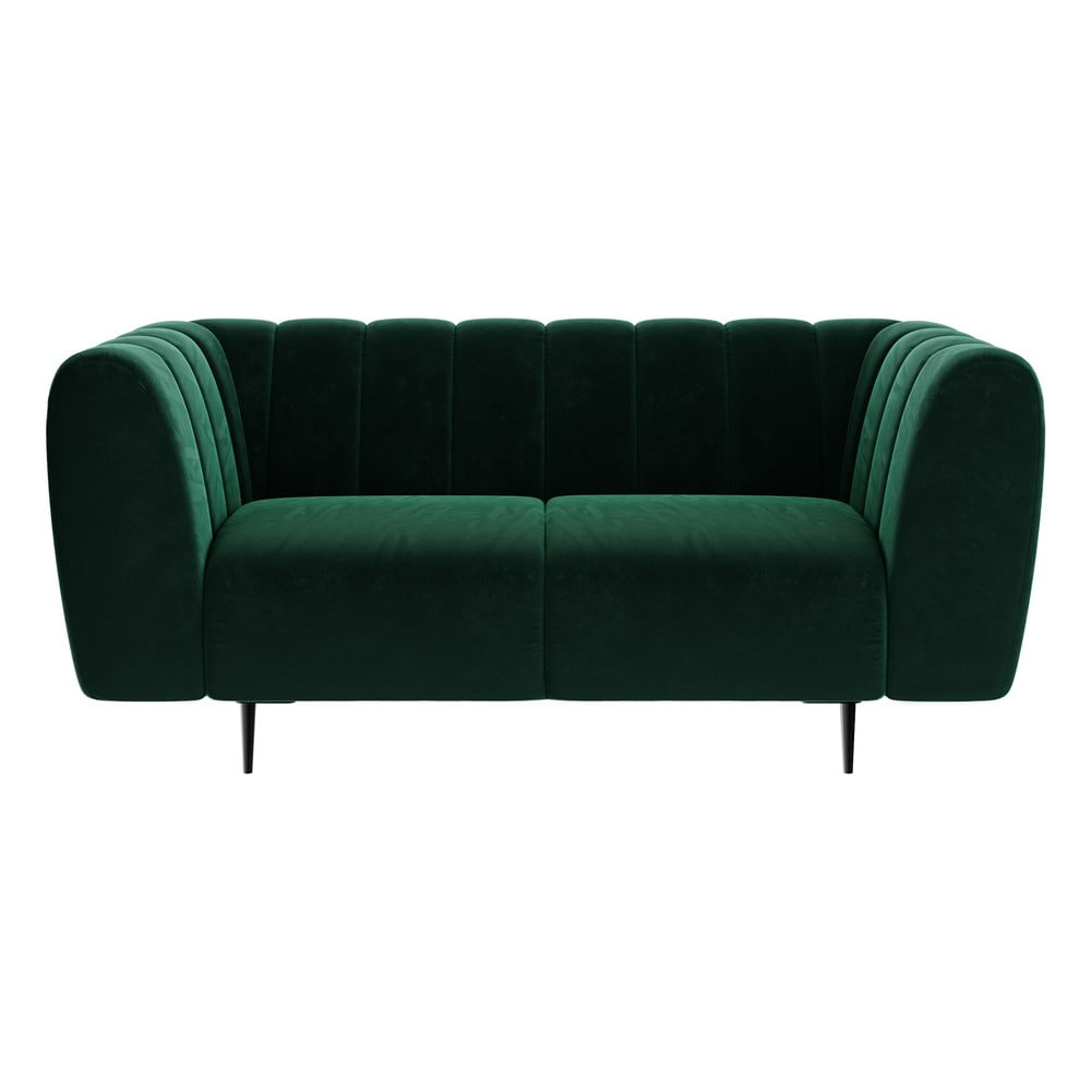 Ciemnozielona aksamitna sofa Ghado Shel, 170 cm