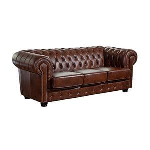 Brązowa skórzana sofa trzyosobowa Max Winzer Norwin