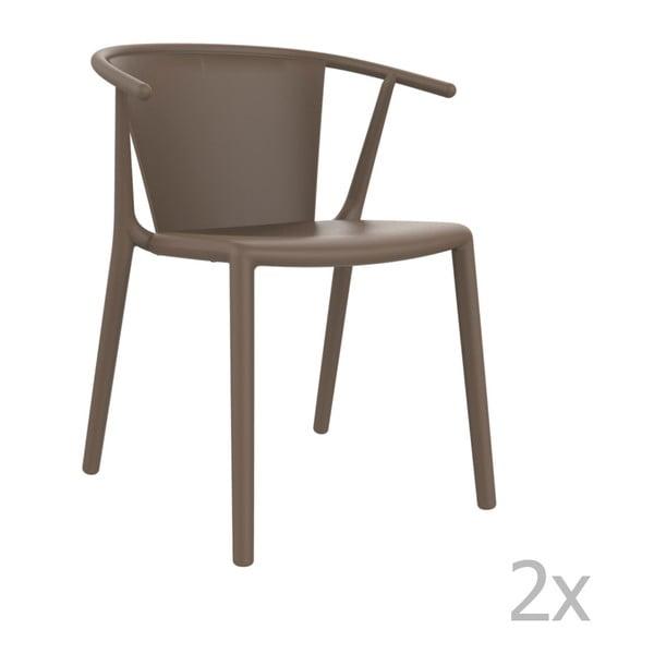 Zestaw 2 brązowych krzeseł ogrodowych Resol steely