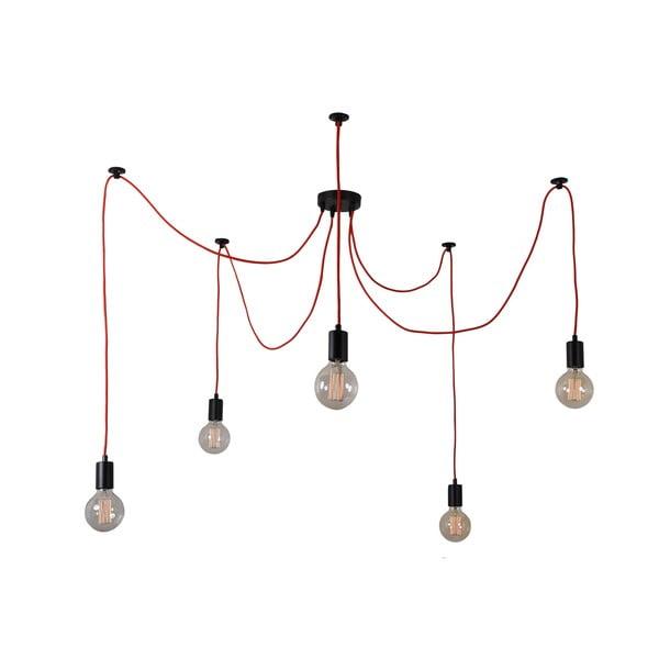 Lampa wisząca Spider, pięć żarówek, czerwona