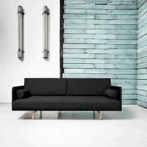Sofa rozkładana Karup Deva Black/Raw Oak/Dark