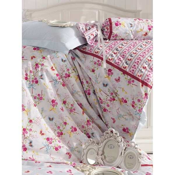 Różowa pościel z prześcieradłem na łóżko dwuosobowe Love Colors Emma, 200 x 220 cm