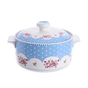 Niebiesko żaroodporne naczynie do zapiekania z pokrywką InArt