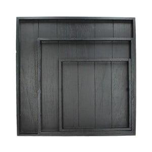 Zestaw 3 tac Wooden Black