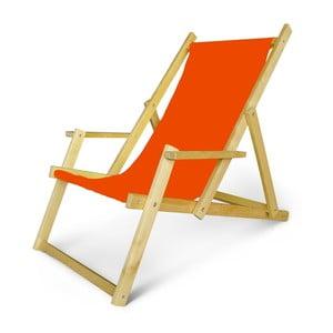 Regulowany leżak drewniany z podłokietnikami JustRest, pomarańczowy