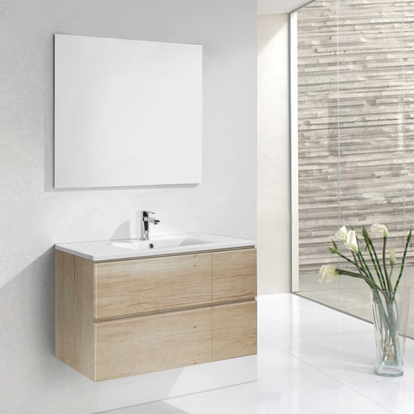 Szafka do łazienki z umywalką i lustrem Monza, motyw drewna, 120 cm
