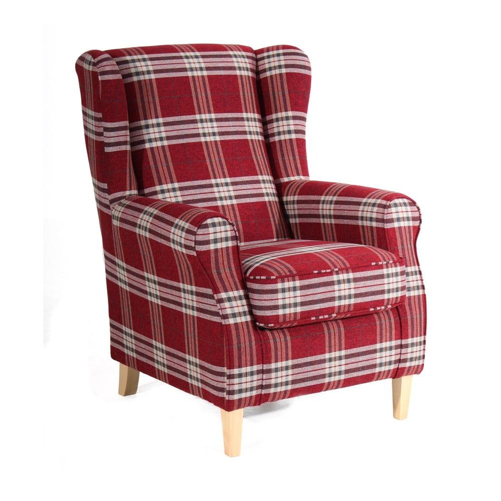 Czerwony fotel w kratę Max Winzer Lorris