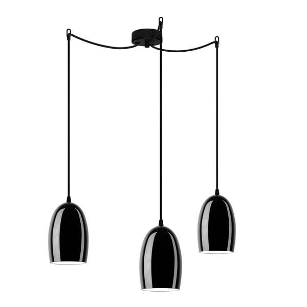 Lampa potrójna UME Elementary, czarna błyszcząca/czarna/czarna