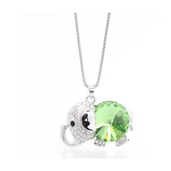 Naszyjnik ze Swarovski Elements, zielony słonik