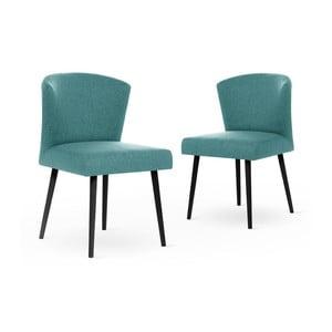 Zestaw 2 jasnoniebieskich krzeseł z czarnymi nogami My Pop Design Richter