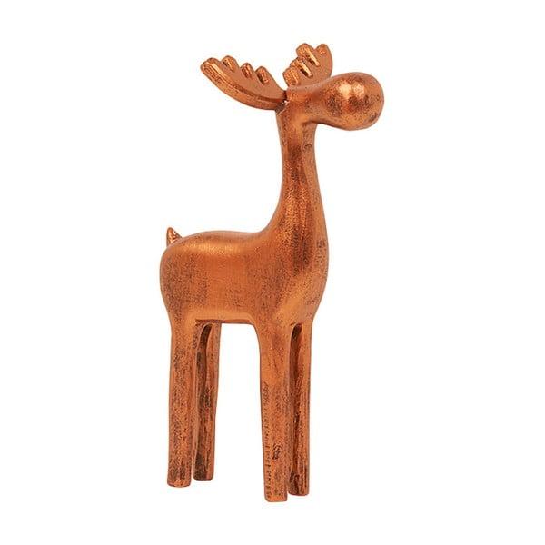 Dekoracja Small Wooden Copper Reindeer, 19 cm