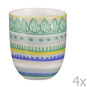 Zestaw 4 porcelanowych filiżanek na espresso Oilily 80 ml, zielony