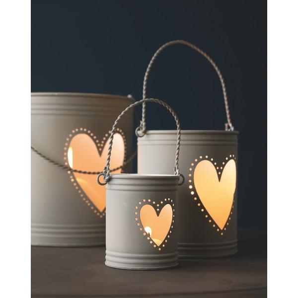 Zestaw 3 lampionów Heart Candles, białe