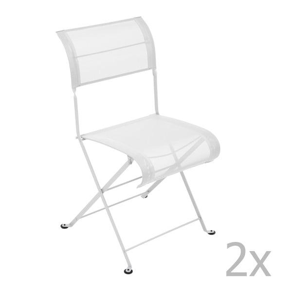 Zestaw 2 białych krzeseł składanych Fermob Dune