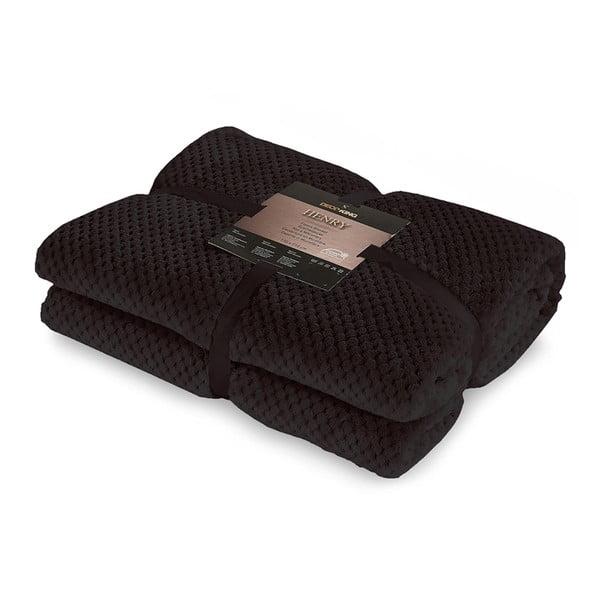 Czarny koc z mikrowłókna DecoKing Henry, 220x240cm