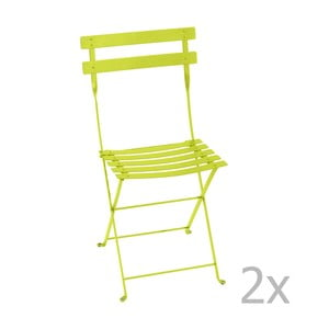 Zestaw 2 limonkowych krzeseł składanych Fermob Bistro
