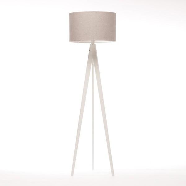 Kremowa lampa stojąca Artist, biała lakierowana brzoza, 150 cm